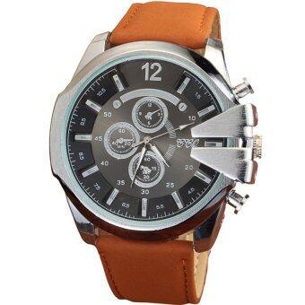 MEGA Luxury Quartz Waterproof Leather Watchband Outdoor Fashion Analog Wristwatch หรูหรานาฬิกาข้อมือ สายหนัง กันน้ำ รุ่น MG0018 (Silver/Brown)