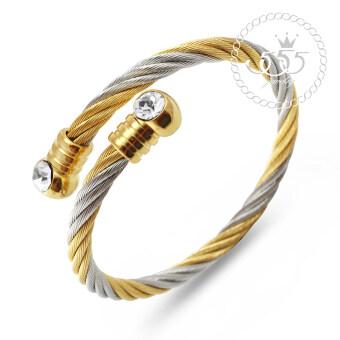 555jewelry เครื่องประดับ กำไลข้อมือ สแตนเลสสตีล ลายเกลียวประดับ CZ รุ่น MNC-BG218-B (สีขาว สีสตีล-ทอง)