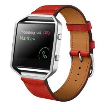 Luxury Leather Watch band Wrist strap For Fitbit Blaze Smart Watch RD Red - intl image