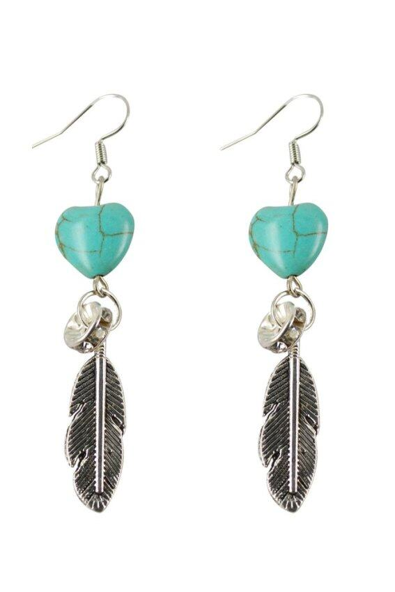 Jiayiqi Tibetan Silver Heart Shaped Feather Bottom Drop Dangle Earrings (Turquoise)- Int ...