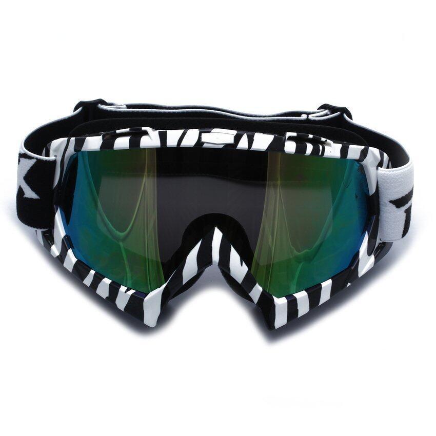 JOR Motorcycle Motocross Ski Snowboard Eye Protection Glasses Goggle Zebra-stripe (Black)