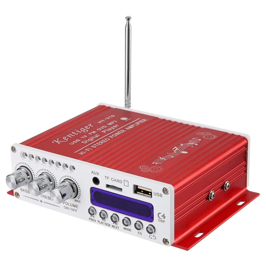 Kentiger V10 Bluetooth Hi-Fi Class-D Stereo Super Bass Audio Power Amplifier (Red)