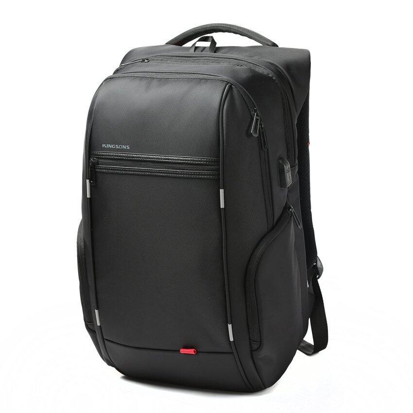Kingsons 15.6 inches City Elite Bag Designer Laptop Backpack Water-Resistant Anti-Theft Laptop Rucksack with USB Charging Port Black