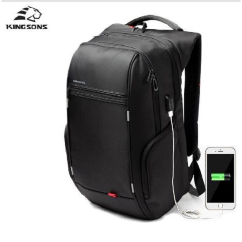 Kingsons 17inch Laptop Backpack External USB Charge Computer Backpacks Anti-theft Waterproof Bags for Men women model A - intl
