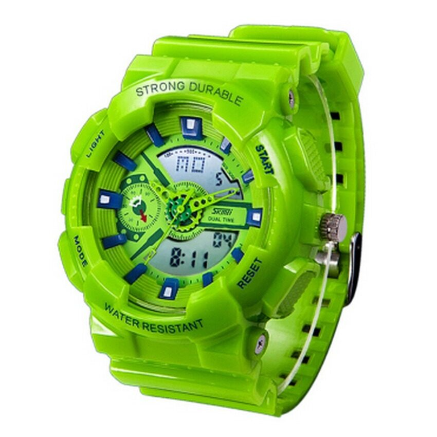 Lady's LED Outdoor Sports Electronic Watch With Water Resistant Jelly Wristwatches(Green) (Intl)