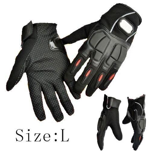 Leather Motorcycle Racing Hand Full Finger Protection Gloves Black/L - intl