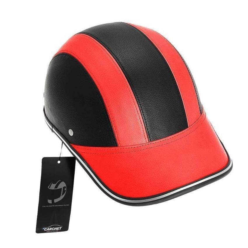 Lvzhi Motorcycle Half Face Helmet Protective Helmets Pith Helmet Baseball Cap 5 Colors-Red - intl
