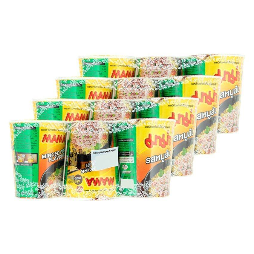 MAMA มาม่า บะหมี่กึ่งสำเร็จรูป คัพ รสหมูสับ 60 กรัม x 3 ถ้วย (รวม 4 แพ็ค ทั้งหมด 12 ถ้วย ...