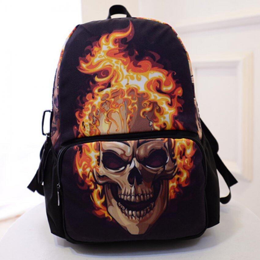 Marino กระเป๋าเป้สะพายหลัง กระเป๋าใส่โน๊ตบุ๊ค backpack กระเป๋าเดินทาง No.0206 - สีดำ(ลายหัวกระโหลก)