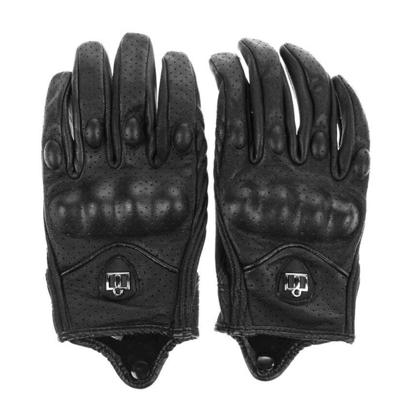 Men Motorcycle Gloves Outdoor Sports Full Finger Short Leather Gloves with hole Medium(black)