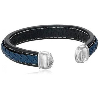 Mens Stainless Steel and Muli-Color Leather Cuff Bracelet - intl