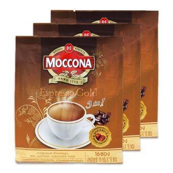 MOCCONA มอคโคน่า กาแฟปรุงสำเร็จชนิดผง ทรีโอ เอสเปรสโซ่ โกลด์ 19 กรัม x 16 ซอง (แพ็ค 3 ถุง)