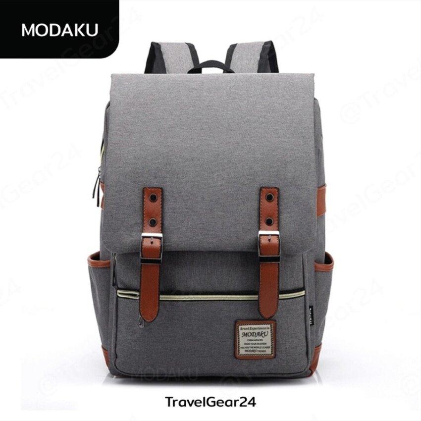 "Modaku New Model กระเป๋าโน๊ตบุ๊ค 14"" แนววินเทจ กระเป๋าเป้ สะพายหลัง สำหรับใส่โน๊ตบุ๊ค Vintage Notebook Mac Luggage Shoulder Bag - RED/สีแดง"