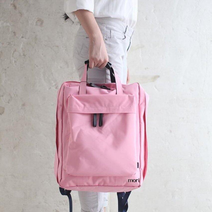 Mori Travel Bag Backpack Notebook Bag กระเป๋าเป้สะพายหลัง กระเป๋าเป้ กระเป๋าจัดระเบียบเสื้อผ้า (Pink/สีชมพู)