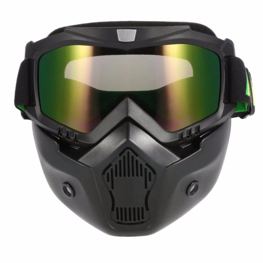 Mortorcycle Mask Detachable Goggles and Mouth Filter for Open Face Helmet Motocross Ski Snowboard - intl
