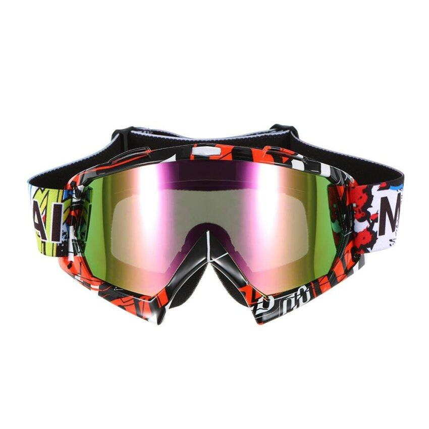 Motorcycle Racing Riding Cycling Goggles Outdoor Ski Wind-proof Antifog Glass Color Lens - intl
