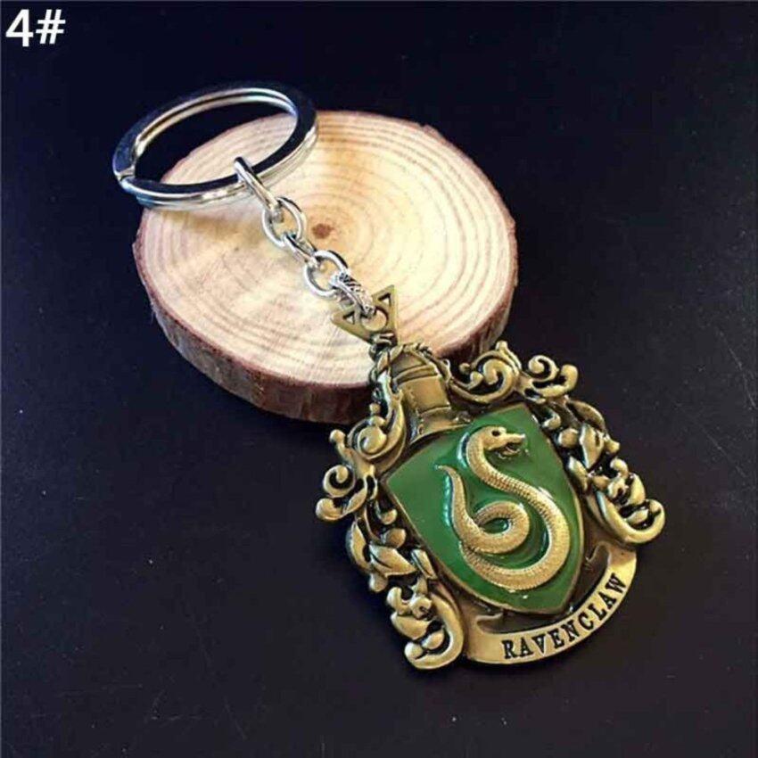 Movie Harry Potter Hogwarts School Snake/Eagle/Badger/Lion Badges Key Chain Keyring