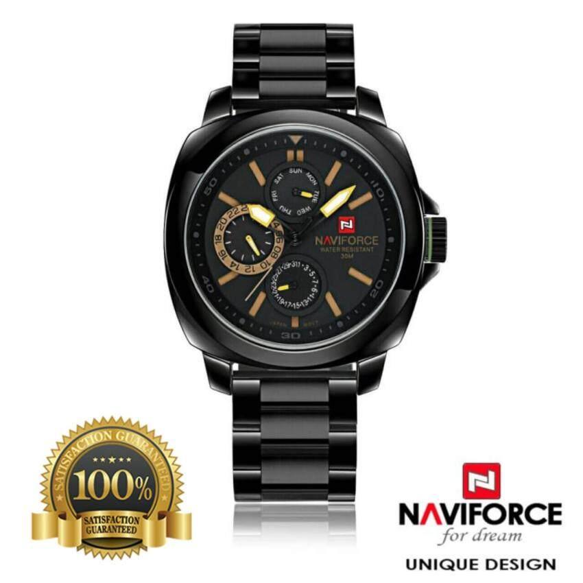 NAVIFORCE WATCH นาฬิกาข้อมือผู้ชาย สายสแตนเลสแท้ สีดำ ระบบโครโนกราฟ วันที่/สัปดาห์ สไตล์ ...