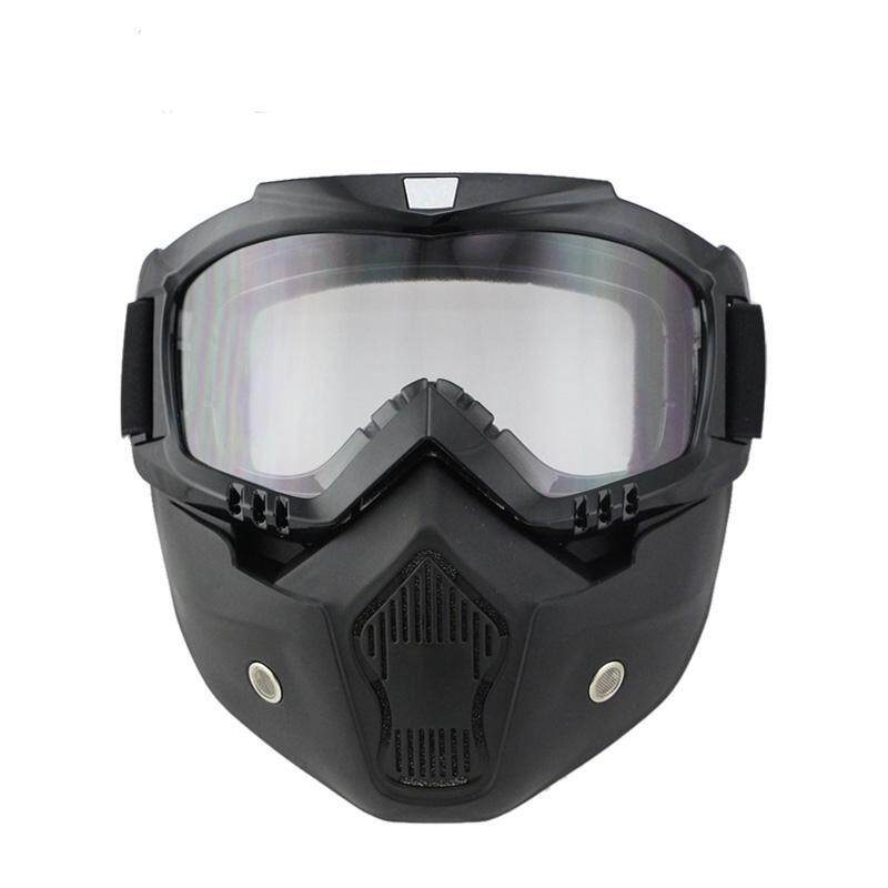 New Goggle Tinted UV Stripe Motorcycle Goggles Motocross Bike Cross Country Flexible face mask skull Goggles (Clear) - intl