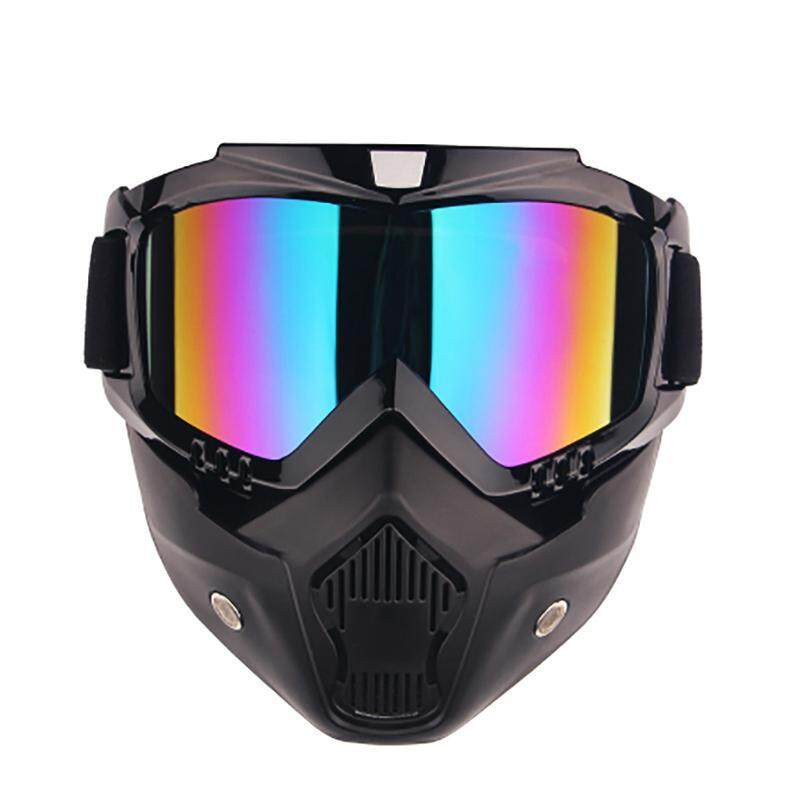 New Goggle Tinted UV Stripe Motorcycle Goggles Motocross Bike Cross Country Flexible face mask skull Goggles (Multicolor) - intl