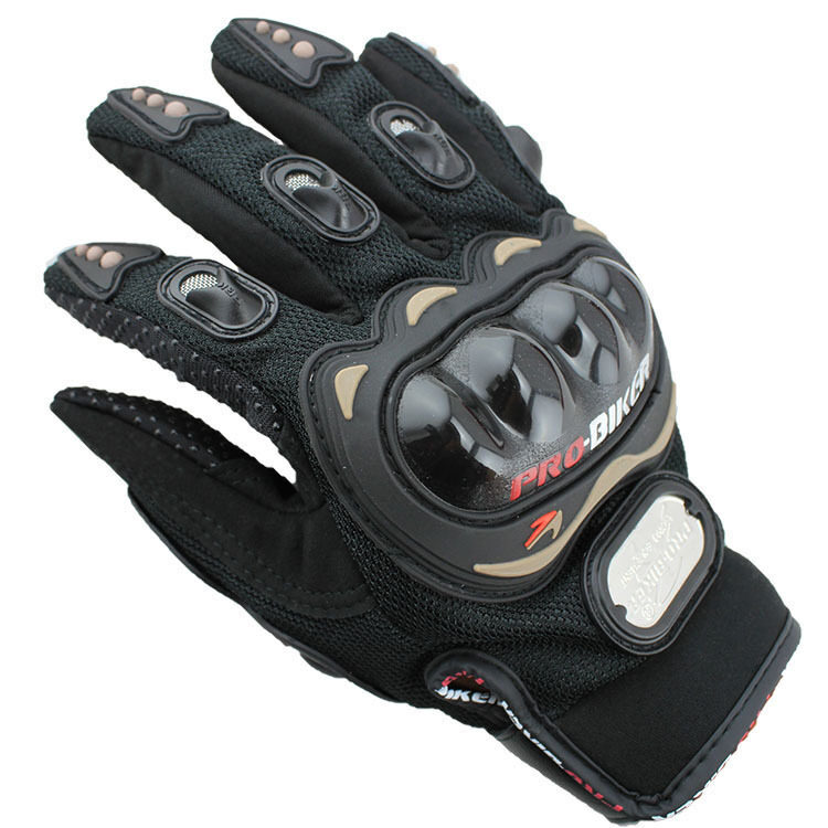 Outdoor Sports Full Finger Professional Riding Motorbike Motorcycle Gloves Black Red 3D Breathable Mesh Fabric Leather Glove - Intl
