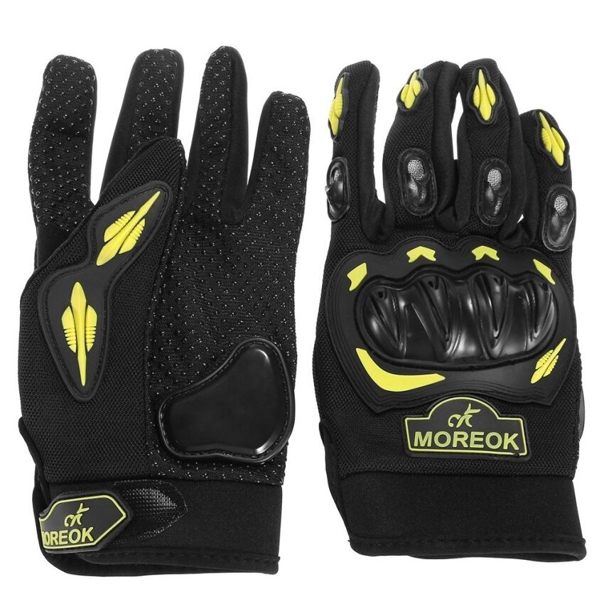 Pair of MOREOK Motorcycle Riding Gloves Full-finger Breathable Anti-skid Outdoor Protector(YELLOW)(Size:XL)(...) - intl