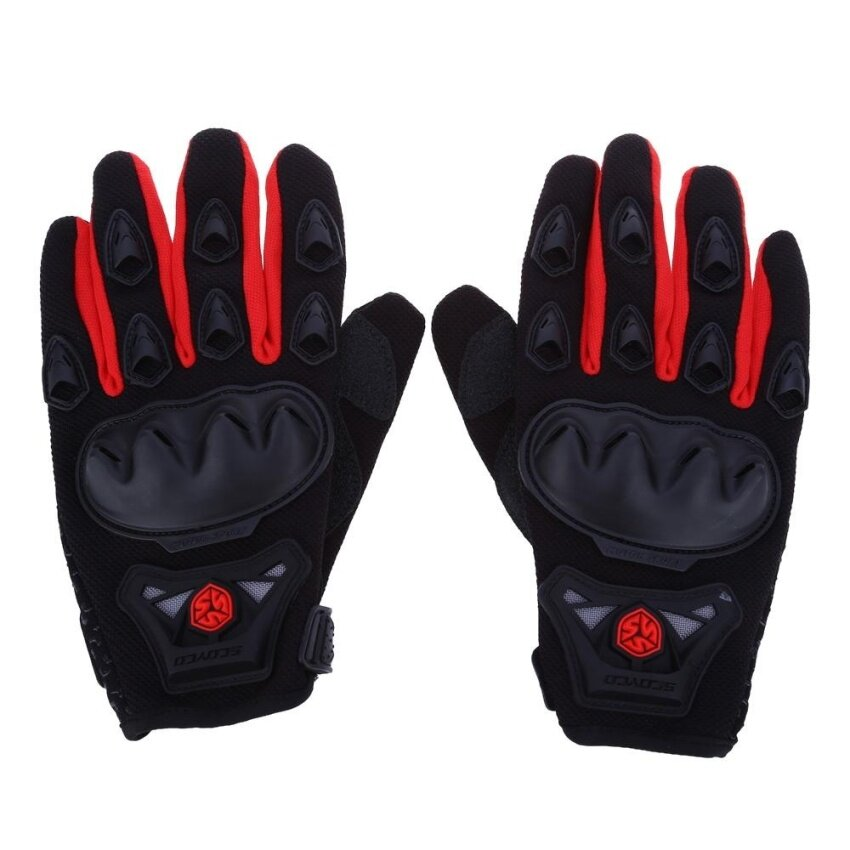 Paired Full Finger Motorcycle Gloves Motorbike Motocross Breathable Protective Gears(RED)(Size:M?)(...) - intl