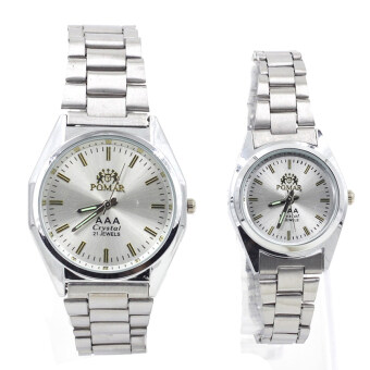 POMAR นาฬิกาข้อมือคู่รัก 9186-8122 (Silver/ White) พิเศษแถมซองนาฬิกาสุดหรู image