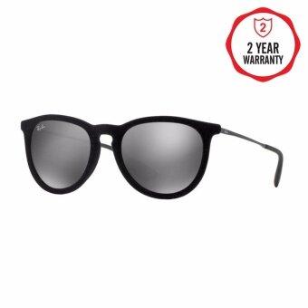 Ray-Ban แว่นกันแดด รุ่น Erika (F) RB4171F - Flock Black (60756G) Size 54 Grey Mirror Silver