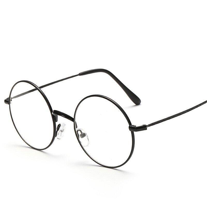Retro Round Metal Eyeglasses thin Frame Student Fashion Glasses(black) ...