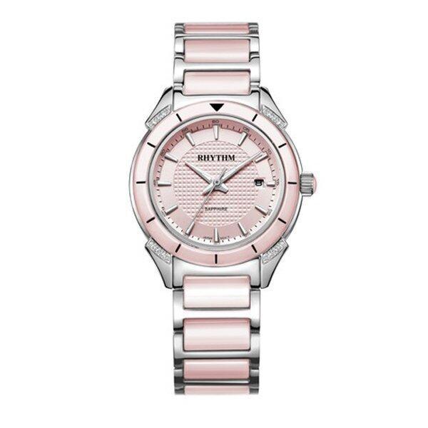RHYTHM นาฬิกาข้อมือ รุ่น F1208T03 (Silver/Pink) ...