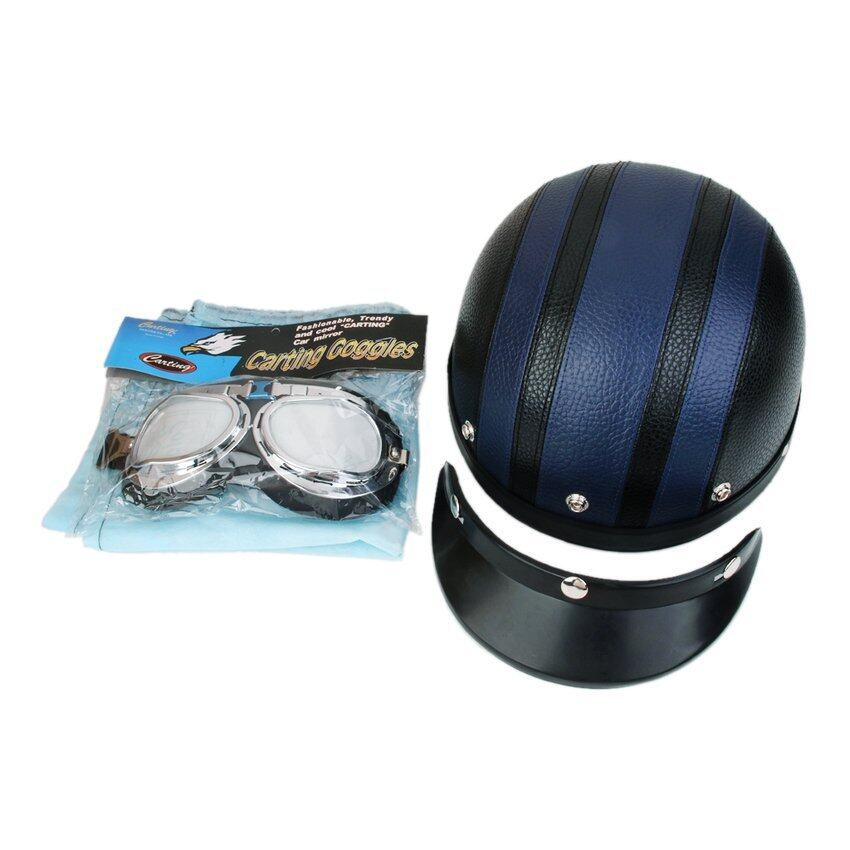 RIS Motorcycle Motorbike Open Face Helmet Visor with Goggles - Blue