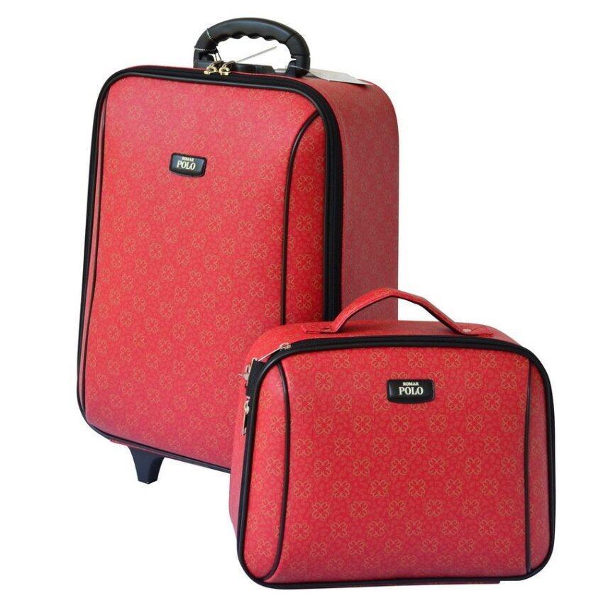 Romar Polo กระเป๋าเดินทาง 20/14 นิ้ว เซ็ทคู่ รุ่น Code 373-1 Sakura (Red)