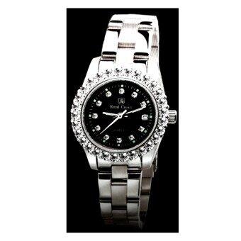 Royal Crown นาฬิกาข้อมือสุภาพสตรี ประดับเพชร cz อย่างดี สายสแตนเลส รุ่น 3662L-CZ (Black/Silver)