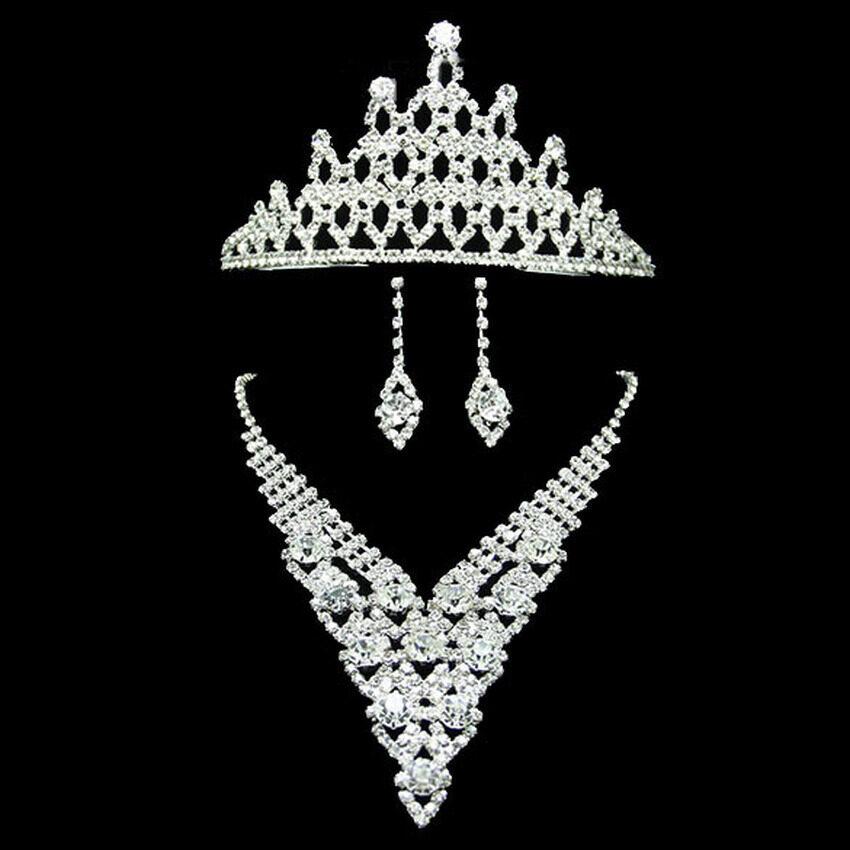 S & F Diamante Elegant Luxurious Rhinestone Necklace Earring Crown Set Wedding .