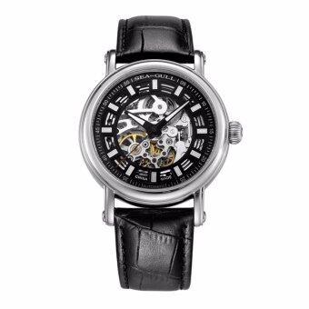 Seagull Skeleton Black Unisex Automatic Watches Genuine Leather 819.338K - intl