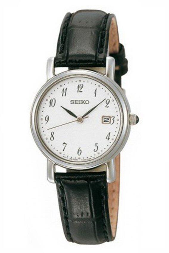 SEIKO นาฬิกาข้อมือผู้หญิง เรือนเหล็ก สายหนัง รุ่น SXDA13P1 - สีเงิน/สีขาว/สีดำ ...