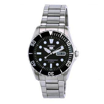 Seiko Watch 5 SPORTS Silver Stainless-Steel Case Stainless-Steel Bracelet Mens NWT + Warranty SNZF17K1