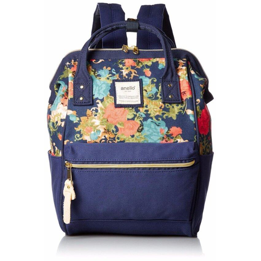 【Ship from Japan】Anello Canvas with mouthpiece mini rucksack AT-B 0487 Flower Navy - intl