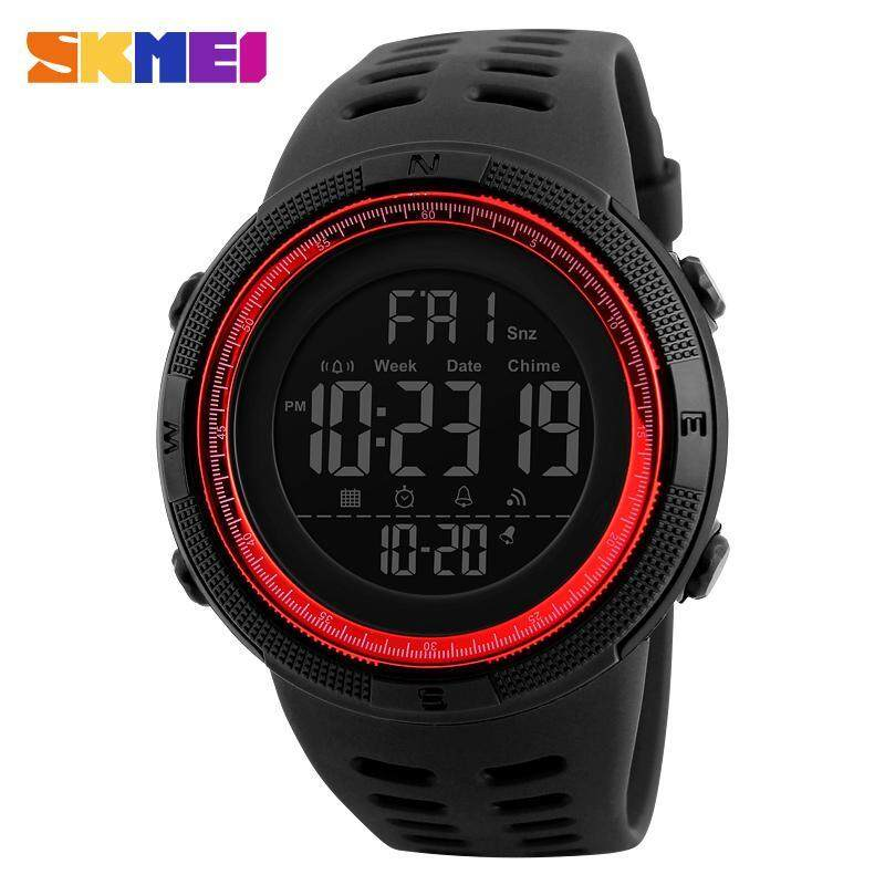 SKMEI Men Sports Watches Countdown Double Time Watch Alarm Chrono Digital Wristwatches 50M Waterproof Watches 1251 - Black Red - intl ...
