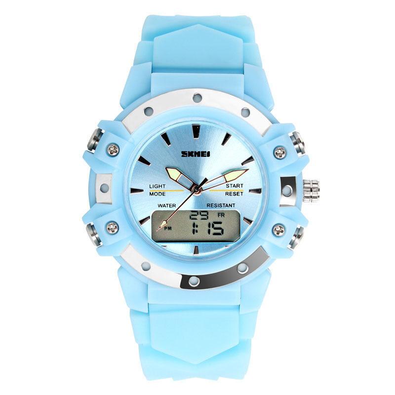 SKMEI Unisex Sport Waterproof Rubber Strap Wrist Watch -Blue 0821