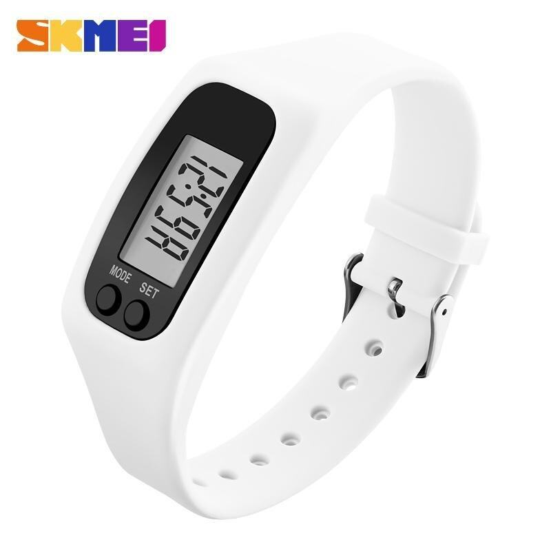 SKMEI Women Fashion Sports Watches Pedometer Calorie Sport Mileage Digital Watch Girl Colorful Silicone Strap Wristwatches 1207 - White - intl