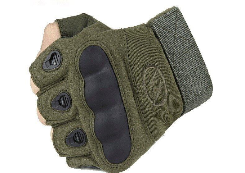 Sport Gloves Fingerless Tactical Gloves for Motocycle Cycling Gym Climbing L (Army Green)