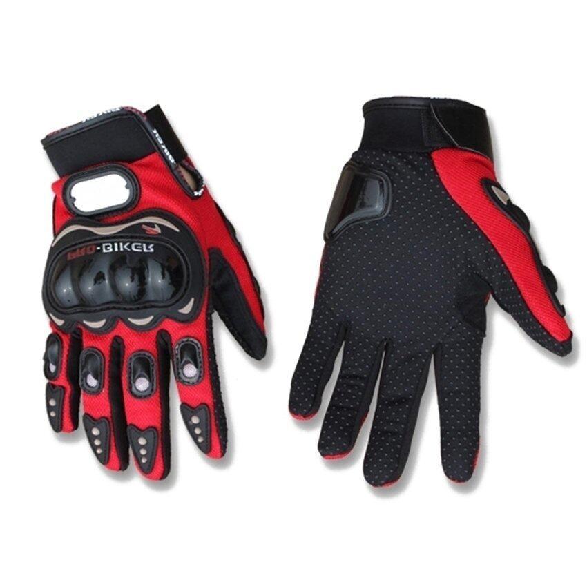 SW Motorcycle Gloves Motorbike Carbon Fiber Biker Bike Racing Full Finger Red M (Intl)