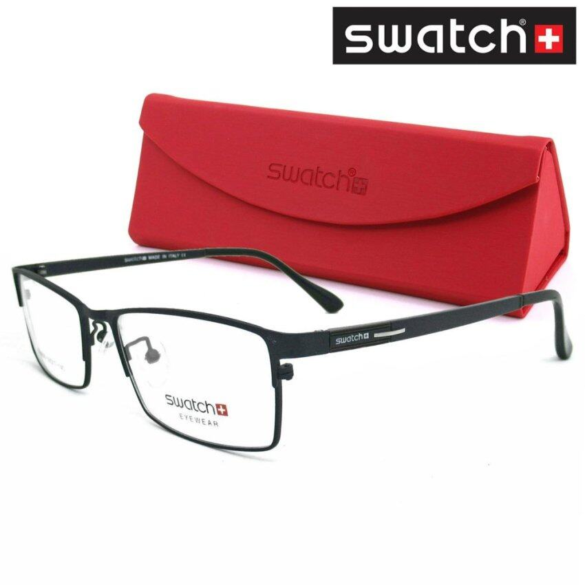 SWATCH แว่นตา SG-5020 สีดำด้าน Stainless Steel Combination กรอบเต็ม ทรงสปอร์ต (MADE IN K ...