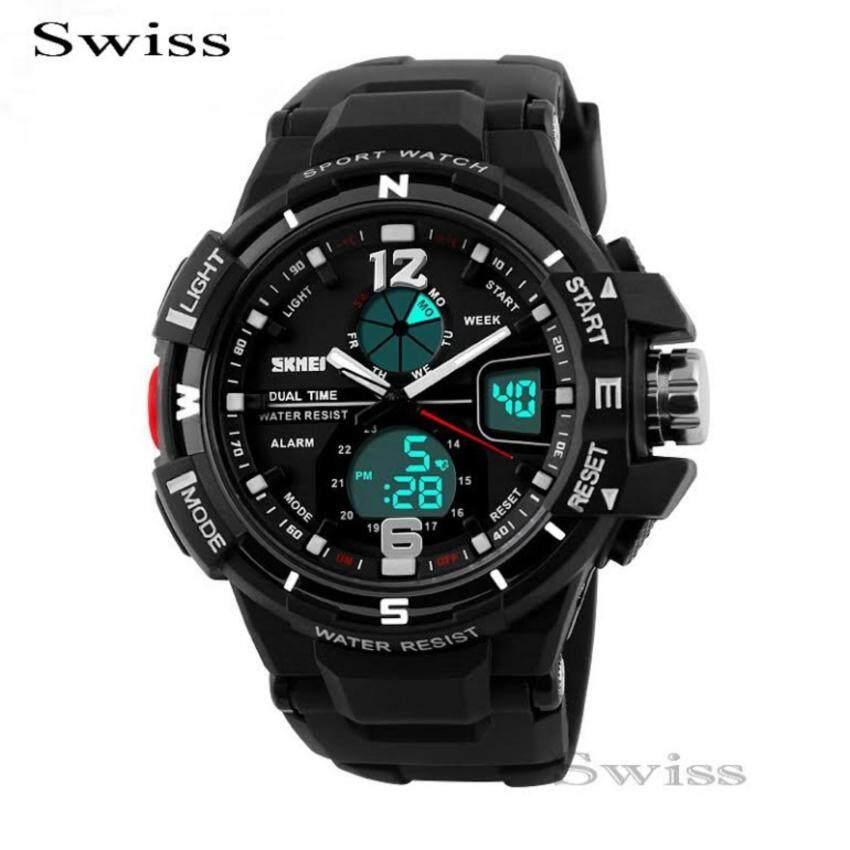 ด่วน Swiss SKMEI Watch นาฬิกาข้อมือ นาฬิกาข้อมือผู้ชาย กันน้ำ No.0114 -Black กำลังลดราคา