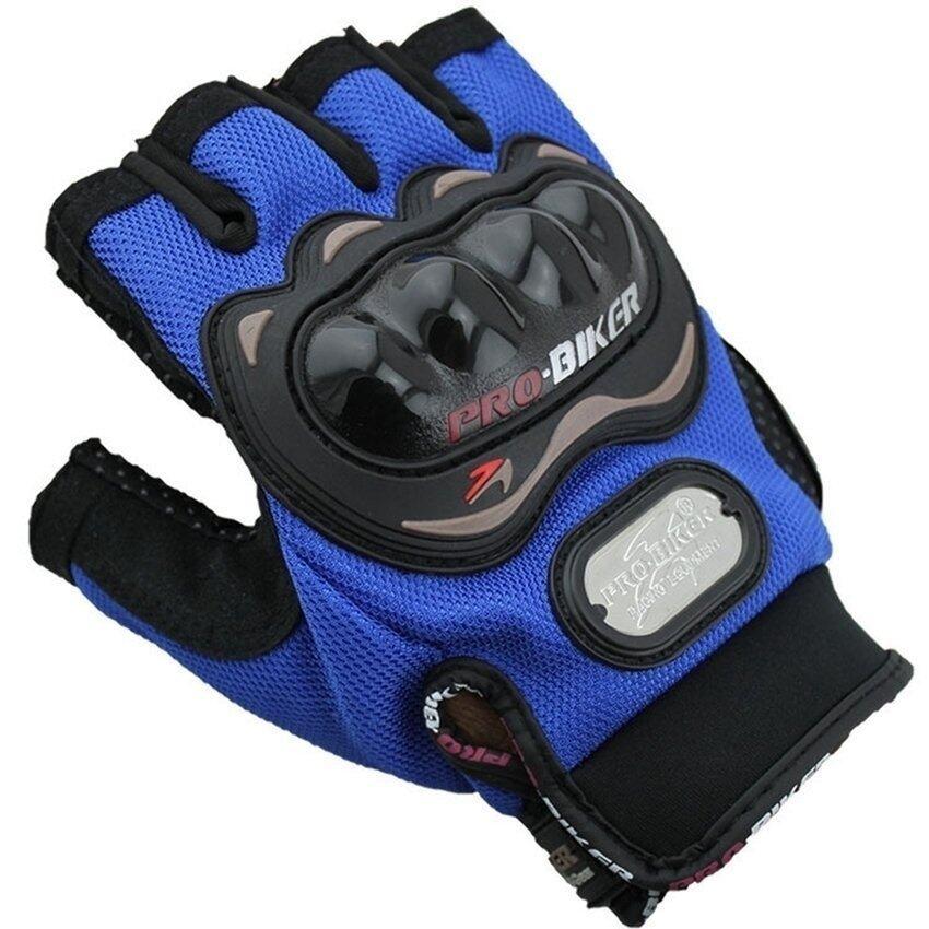 Sworld Men Motorcycle Gloves Motorbike Carbon Fiber Bike Racing Half Finger Blue L (Intl)