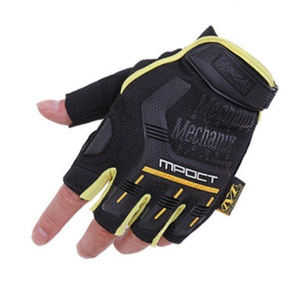 ขาย Tactical Half-finger Mountain Outdoor Warm Motorcycle Racing Cyclists Gloves (Yellow/Black)