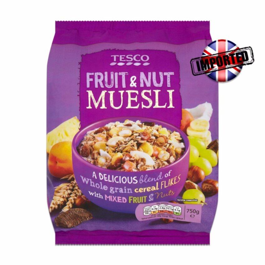 TESCO เทสโก้ ฟรุต แอนด์ นัท มูสลี (อาหารธัญพืชผสมผลไม้และถั่ว) 750 กรัม