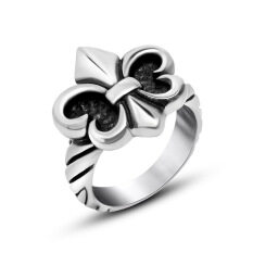 Titanium Steel Fashion Retro Cross-flower-shape Pattern on Cycle Ring for Men Great